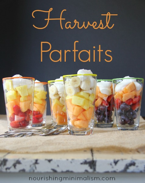 Harvest Parfaits. A real food simple treat for Halloween