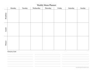 Free Menu Planning Printable