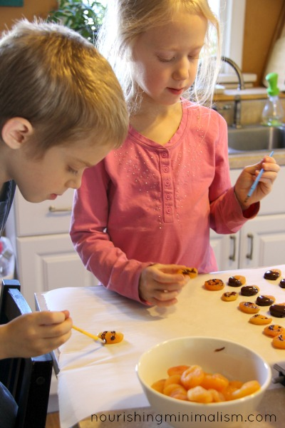 Painting Dried Apricots with Chocolate