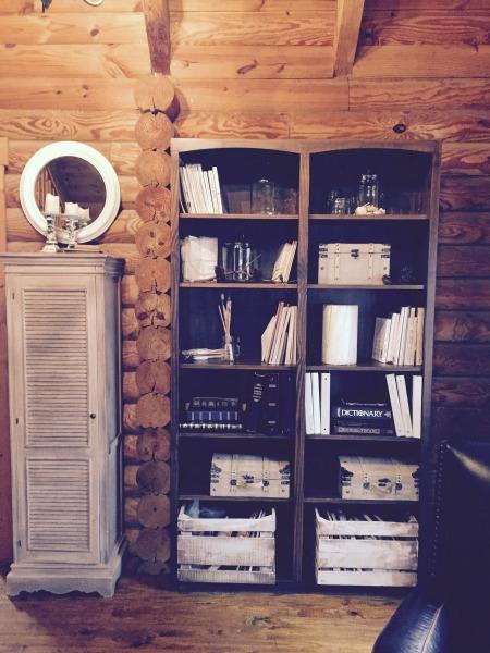 Minimalist log cabin living room