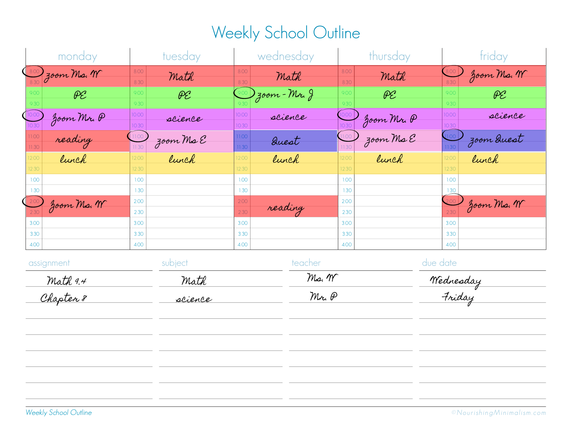 weekly school outline example